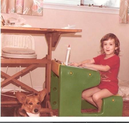 Julie working alongside her mom